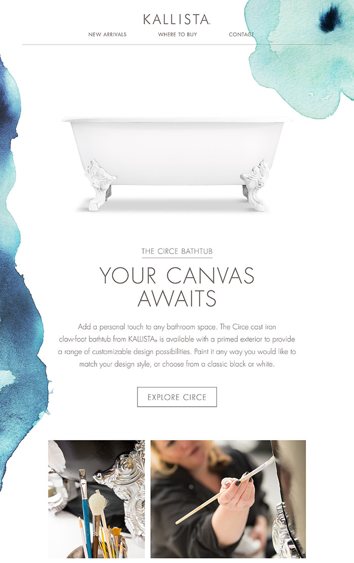 THE CIRCE BATHTUB  -  YOUR CANVAS AWAITS  |  Add a personal touch to any bathroom space. The Circe cast iron claw-foot bathtub from KALLISTA® is available with a primed exterior to provide a range of customizable design possibilities. Paint it any way you would like to match your design style, or choose from a classic black or white.   [EXPLORE CIRCE]