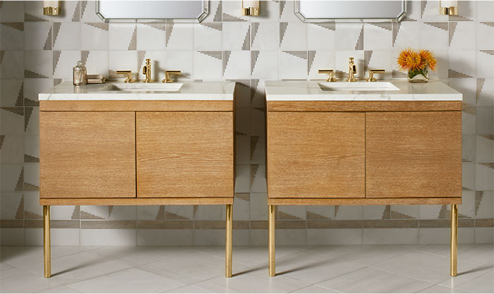 NEW FROM LAURA KIRAR - CERUSED OAK VANITY  |  Inspired by wood and marble elements, the new Laura Kirar vanity in Cerused Oak brings organic warmth to any space. The meticulous attention to detail is evident in every aspect of the vanity—from the slow-close doors to the elegant patterns of the leg accents.