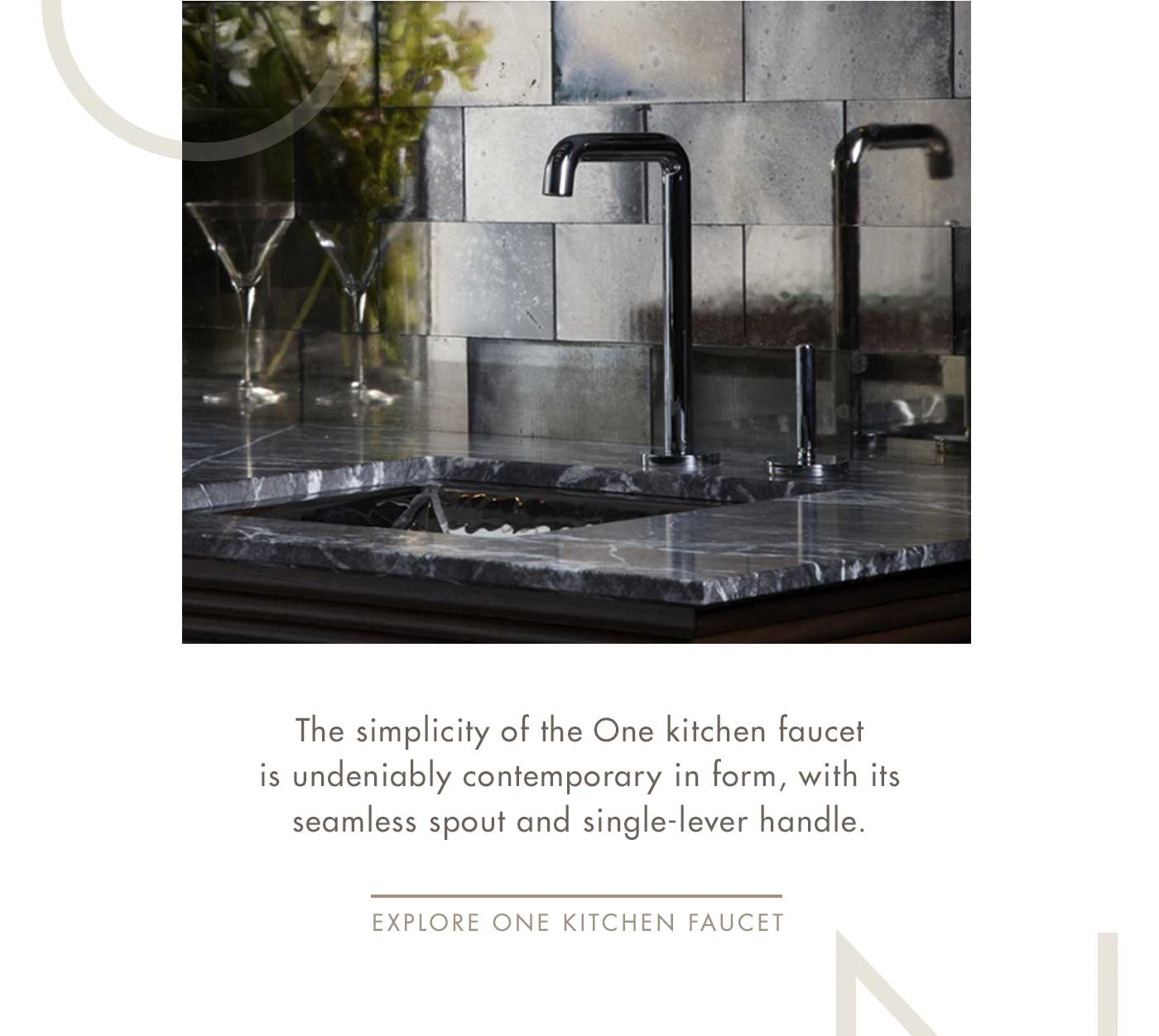 The simplicity of the One kitchen faucet is undeniably contemporary in form, with its seamless spout and single-lever handle. | Explore One Kitchen Faucet