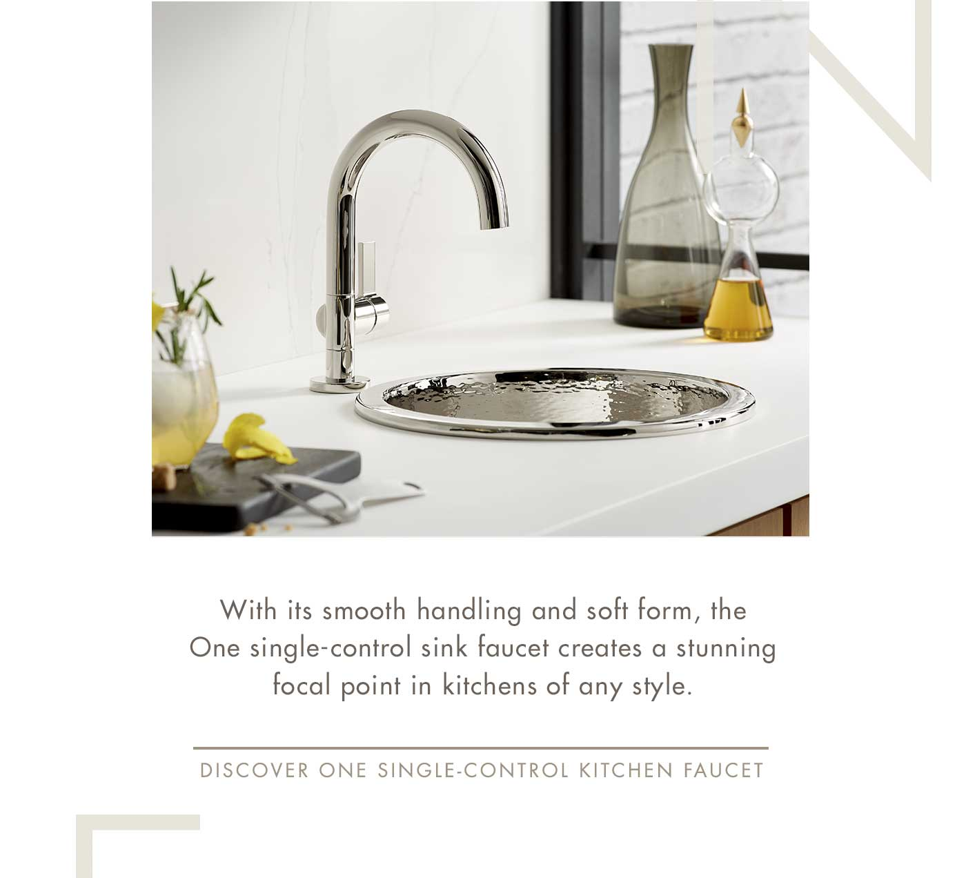 With its smooth handling and soft form, the One single-control sink faucet creates a stunning focal point in kitchens of any style. | Discover One SINGLE-CONTROL Kitchen Faucet